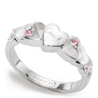 Coach :: New Sterling Open Heart Stone Ring