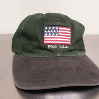 Distressed Vintage 90's Polo Ralph Lauren American Flag Strapback Dad Hat Made In USA Grunge Hipster