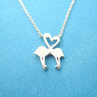 Flamingos Kissing Heart Shaped Silhouette Charm Necklace in Silver | DOTOLY