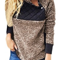 Fashion Coffee Fleece Asymmetrical Snap Pullover