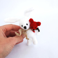 Easter bunny crocheted cute miniature bunny little rabbit for Easter amigurumi tiny bunny red fox backpack white bunny rabbit hare