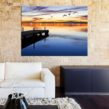 Large Wall Art Canvas Wooden Pier and Birds with City Light Reflection in Twilight - MyGreatCanvas.com |  Extra Large Wall Art - Wall Art Print - Large World Map Canvas Print Gallery