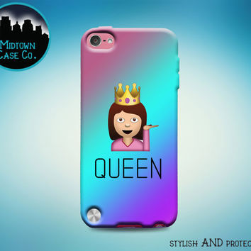Queen Girl with Crown Emoji Purple iPod Touch 5th Gen Generation Rubber Case, Queen Girl with Crown Emoji iPod Touch 6th Gen Rubber Case