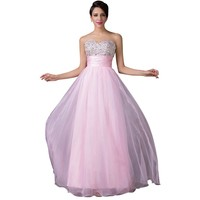 Sexy Ball Gown Evening Dresses Long Pink Blue Long Crystal Beaded Formal Dinner Prom Dresses Women Party Gown
