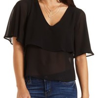 Strappy Back Chiffon Flounce Top by Charlotte Russe