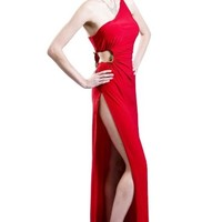 Sexy Red One Shoulder High Slit Evening Party Halloween Dress
