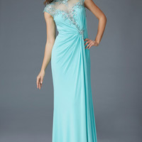 G2011 Cap Sleeve Jersey Sheer Illusion Mother of the Bride Dress Evening Gown