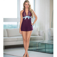 Sheer Baby Doll W-ribbon Bow Plum-turquoise Sm