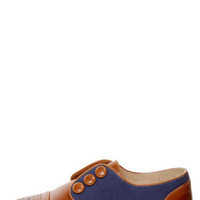 Restricted Bundy Whiskey and Navy Buttoned Oxford Flats