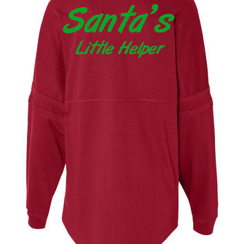 Womens Spirit Jersey. Santa's Little Helper. Long Sleeve. women's clothing. Holiday shirt. Christmas shirt. Womens Clothing
