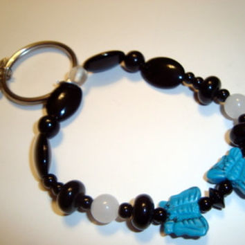 Butterflies Are Free Bracelet with Key Ring - Turquoise and Silver Butterflies - Black and White Gemstones - Natures Artistry
