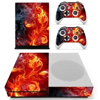 Red Fire Decal Skin Sticker Protector Cover For Microsoft Xbox One S Console And 2 Controller Skins Stickers