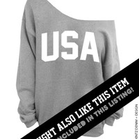 USA - 4th of July - Red Slouchy Oversized Sweatshirt