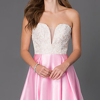 Short Strapless Sweetheart Dress with Lace Bodice