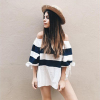 Black and White Striped Cold Shoulder Bow-knot Sleeve T-Shirt