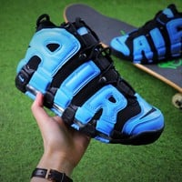 Nike Air More Uptempo QS Basketball Shoes Blue Black Sneaker 415082-005 - Best Online Sale