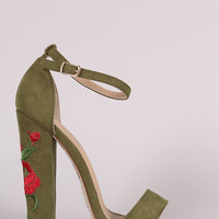 Embroidered Rosette Ankle Strap Open Toe Chunky Heel