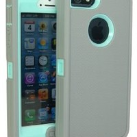 Iphone 5 5g 5s Body Armor Defender Series Hybrid Comparable Case Cover Gray on Teal + Free Cube Charger