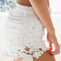 White Floral Cut Out Denim Shorts