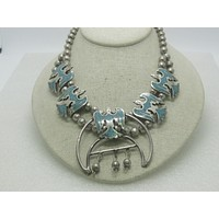 """Sterling Turquoise Squash Blossom Necklace, Peyote Bird,  16"""", 77.30 grams"""