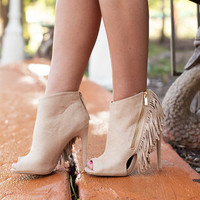 Open Toe Fringed Heeled Booties