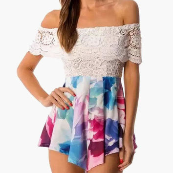 White Floral Print Off Shoulder Scallop Lace Pleated Romper