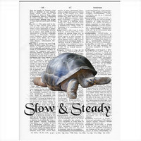 Vintage Dictionary Paper - Slow & Steady Turtle Dictionary Art Print