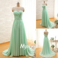 Mint Green Beaded Illusion Chiffon Long Prom Dress With Ruched Bodice