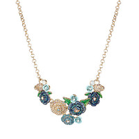SKULLS AND ROSES CLUSTER NECKLACE: Betsey Johnson