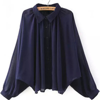 Pointed Flat Collar Cuff Sleeve Pleated Blouse