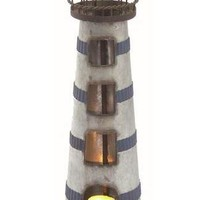 Lighthouse -- Vintage Metal Tealight Holder 16-in H