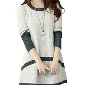 Bridess Color Block Knit Casual Dress Round Neck Long Sleeve Pocket Fall Winter A-line Sweater Dresses