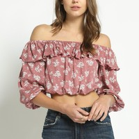 Floral Boho Off Shoulder Crop Top