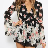 Choies Design Limited Black Floral Frint Romper Playsuit With Long Flare Sleeves - Choies.com