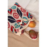Ivory Abstract Leaf Pattern Knit Boho Tote Bag