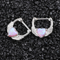 1PC Copper Nose Rings Real Septum Clickers Pink Opal Stones Heart Piercings Angle Wings 8mm