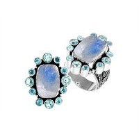 """AR-6143-CO2-6"""" Sterling Silver Ring With Rainbow Moonstone & Blue Topaz"""
