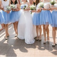 Sky blue green purple tulle Skirt for bridesmaids - Adult Tulle -Party skirt - Midi Skirt with Lycra Waistband - Custom Size - Made to Order