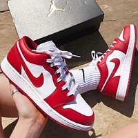 Air Jordan1 Low AJ1 Fashion Women Men Retro Casual Sport Shoes Sneakers Red&White