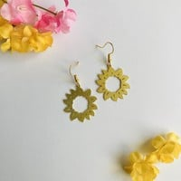 Gold Sunflower Laser Cut Dangle Earrings