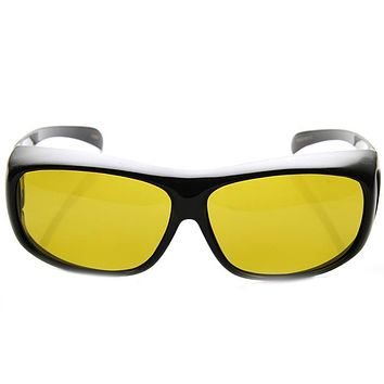 Safety Protective Fit Over Polarized Night Driving Lens Sunglasses 9446