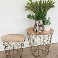 Set Of Two Side Tables With Wire Bases And Mango Wood Tops