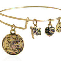 Alex and Ani style letter pendant charm bracelet,a perfect gift !