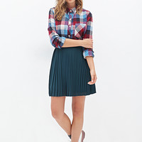 FOREVER 21 Multi-Color Check Shirt Burgundy/Blue