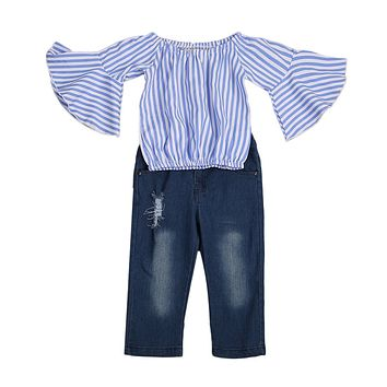 2pcs Kids Baby Girls Outfits Set Off Shoulder Lace Butterfly Sleeve Striped Tank Top + Hold Jeans Pants Clothes 2-7T
