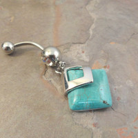 Turquoise Dangle Belly Button Ring Jewelry
