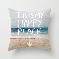 My Happy Place (Beach) Throw Pillow by Leah Flores Designs
