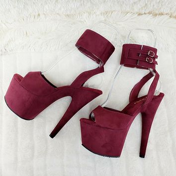 """Adore 791FS Burgundy Platform Shoes Sandals 7"""" High Heels Wide Ankle Cuff NY"""