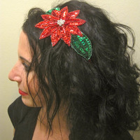 Christmas Xmas Holiday Rhinestone & Beaded Pointsetta Flower Headband. Fun, sparkly! Also, great for ugly christmas sweater party parties!!