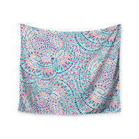 "Miranda Mol ""Kaleidoscopic White"" Aqua Abstract Wall Tapestry"